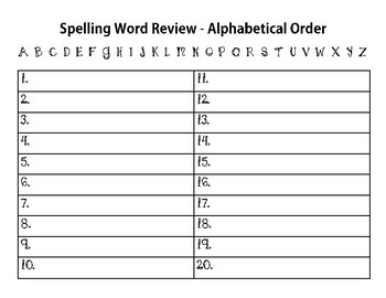 Alphabetical Order Spelling Review