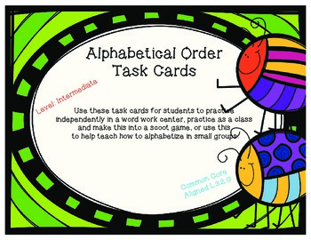 Alphabetical Order Task Cards