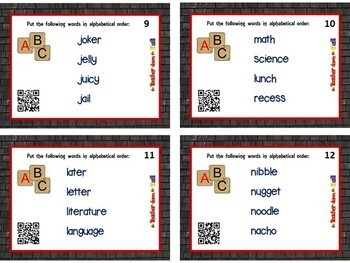 Alphabetical Order Task Cards - 24 Cards w/ QR Codes!
