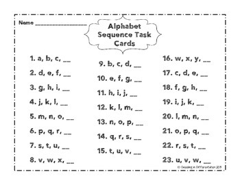 Alphabetical Order Task Cards