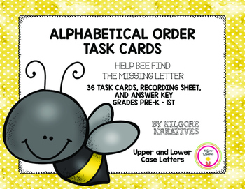 Alphabetical Order Task Cards: Help Bee Find the Missing Letter