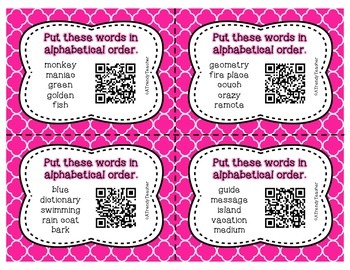 Alphabetical Order Task Cards - With QR Codes
