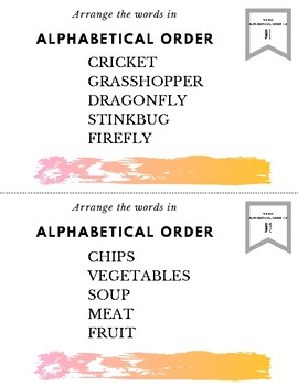 Alphabetical Order Task Cards for Centers Groups v.1.0