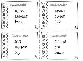 Alphabetical Order Task Cards - large set with 100 cards