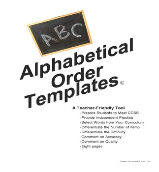ABC Order / Alphabetical Order Templates