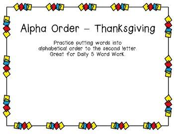Alphabetical Order - Thanksgiving