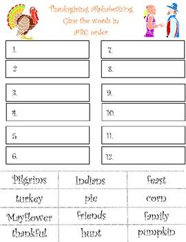 Alphabetical Order Thanksgiving Theme