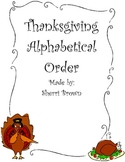 Alphabetical Order Thanksgiving Theme