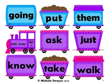 Alphabetical Order Using First Grade Dolch Words