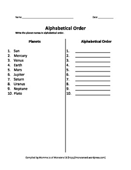 Alphabetical Order Worksheet - Planets