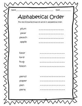 Alphabetical Order - Worksheets