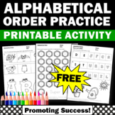 FREE Alphabetic Order Worksheets Kindergarten Alphabet Activities Coloring Pages