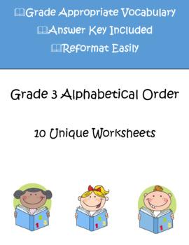 Alphabetical Order Worksheets | Grade 3 | 10 Different Worksheets