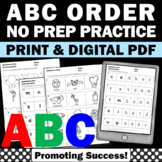 Back to School Alphabetical Order Worksheets Upper and Lower Case Letters