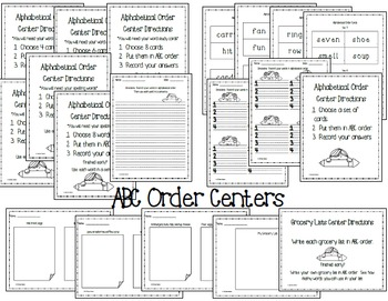 Alphabetical Order and Dictionary Skills Centers