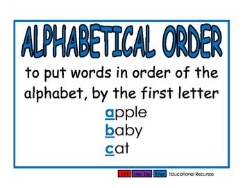 Alphabetical Order blue