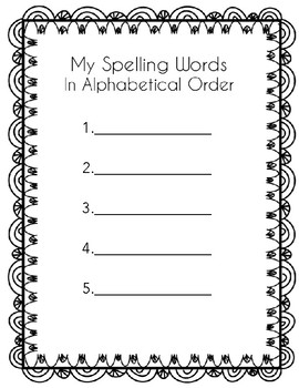 Alphabetical Spelling Word Practice