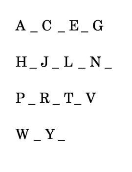 Alphabetical order ABC's Fill in the Blank Reading Kindergarten Printable