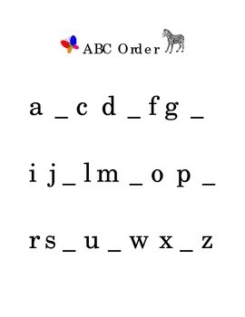 Alphabetical order ABC's Fill in the Blank Reading Kinderg
