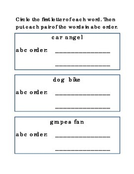 Alphabetical order Sequencing Put Words in Order Reading Kindergarten Printable