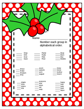 Alphabetical order- Christmas theme
