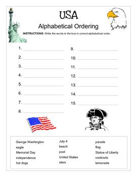 Alphabetical order: USA