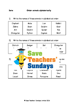 Alphabetical order and Using a dictionary Worksheet