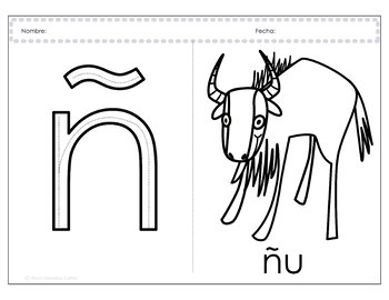 Alphabetical writing and coloring book - Spanish