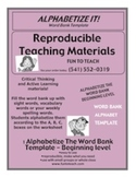 Alphabetize It! Beginning Level Template and Lesson Plan