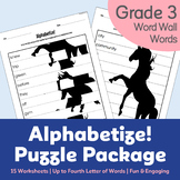Alphabetize! Puzzle Package (with Gr. 3 Word Wall Words) - Alphabetical Order