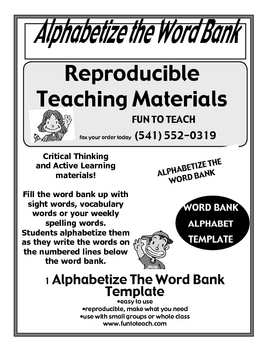 Alphabetize The Word Bank Template and Lesson Plan