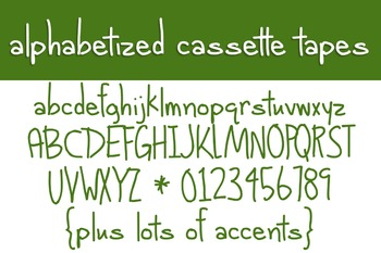 Alphabetized Cassette Tapes Font for Commercial Use