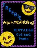 EDITABLE Alphabetizing Cut and Paste (ABC Order) FREEBIE
