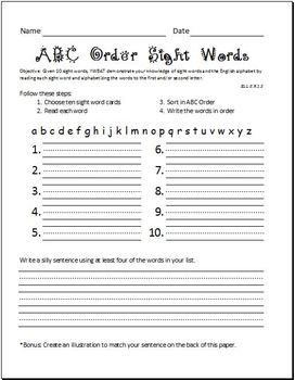 Alphabetizing Sight Words