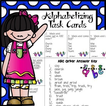 ABC Order! Alphabetizing Task Cards/ Game Cards