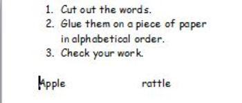 Alphabetizing worksheet