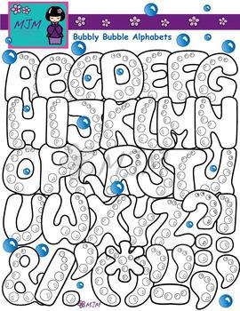 Bubbly Bubble Alphabets Clip Art Bundle