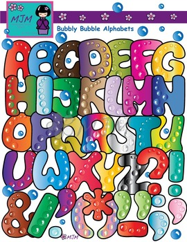 Bubbly Bubble Alphabets Clip Art Bundle