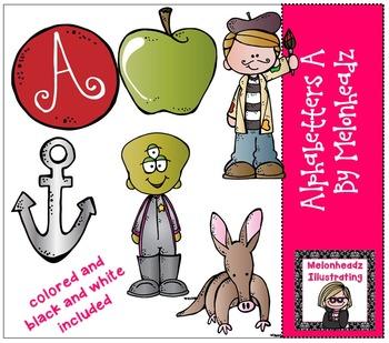 Alphabetter A clip art - Combo Pack- by Melonheadz