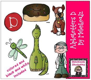 Melonheadz: Alphabetter D clip art - Combo Pack