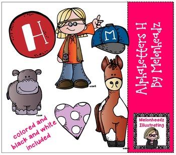 Melonheadz: Alphabetter H clip art - Combo Pack