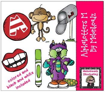Melonheadz: Alphabetter M clip art - Combo Pack