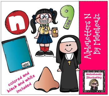 Melonheadz: Alphabetter N clip art - Combo Pack