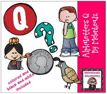 Melonheadz: Alphabetter Q clip art - Combo Pack