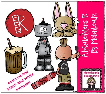 Melonheadz: Alphabetter R clip art - Combo Pack