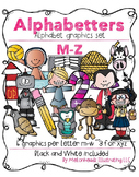 Alphabetters M-Z clip art bundled package - Combo Pack- by Melonheadz