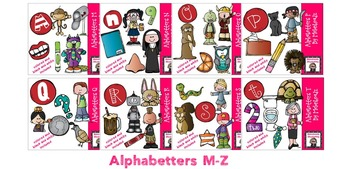 Alphabetters M-Z clip art bundled package - Combo Pack- by Melonheadz