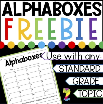 Alphaboxes Formative Assessment Freebie {Any subject, standard, or grade}