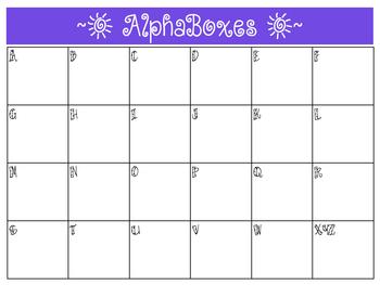 Alphaboxes Template - Landscape **FREEBIE!