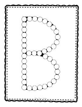 Alphadot Alphabet Dot It! Dab It! Stick It! Generic Worksheets ~ Focus Letter B